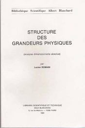 Structure des grandeurs physiques ; analyse dimensionnelle absolue - Intérieur - Format classique