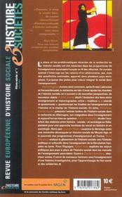 Revue Europeenne D'Histoire Sociale ; De La Recherche A L'Enseignement : Penser Le Social - 4ème de couverture - Format classique
