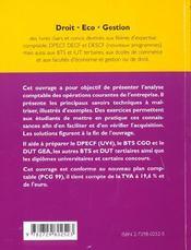 Analyse Comptable Des Operations Courantes - 4ème de couverture - Format classique