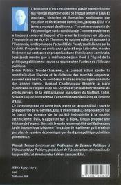 L'Economie-Cahiers Jacques-Ellul N 3 - 4ème de couverture - Format classique