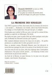 La promesse des semailles - 4ème de couverture - Format classique