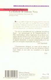 La ballade de Johnny Sosa - 4ème de couverture - Format classique
