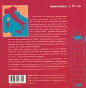 Geopolitique De L Italie - 4ème de couverture - Format classique