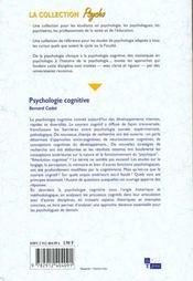 La Psychologie Cognitive - 4ème de couverture - Format classique