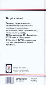 Le Bottin Gourmand 2001 - 4ème de couverture - Format classique