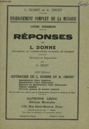 Enseignement Complet De La Musique. Cours Superieur. Reponses. - Couverture - Format classique