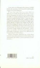 La philosophie féroce t.2 ; traces de feu furieux - 4ème de couverture - Format classique