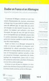 Etudier En France Et En Allemagne - 4ème de couverture - Format classique