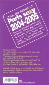 Guide Du Paris Sexy - 4ème de couverture - Format classique