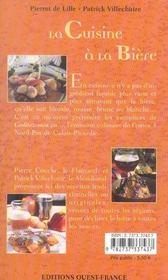 La Cuisine A La Biere - 4ème de couverture - Format classique