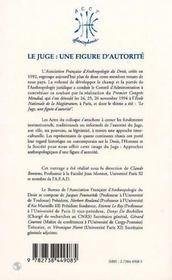 Le juge ; une figure d'autorité - 4ème de couverture - Format classique