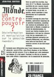 Le Monde, Un Contre-Pouvoir ? - 4ème de couverture - Format classique