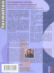 Developpement durable : dynamiser l'action publique - 4ème de couverture - Format classique