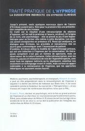 Traite Pratique De L'Hypnose - 4ème de couverture - Format classique
