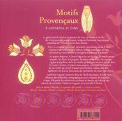 Motifs provençaux à connaître et créer - 4ème de couverture - Format classique