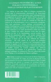 La Logique Financiere De L'Action Publique Conventionnelle Dans Le Contrat De Plan Etat-Region - 4ème de couverture - Format classique