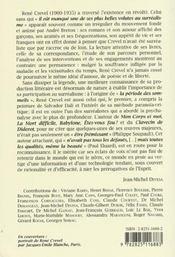 Melusine 22 Rene Crevel Ou L'Esprit Contre La Raison - 4ème de couverture - Format classique
