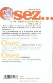 Osez ; Faire L'Amour Partout Sauf Dans Un Lit - 4ème de couverture - Format classique