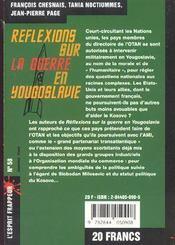 Reflexions sur la guerre en yougoslavie - 4ème de couverture - Format classique