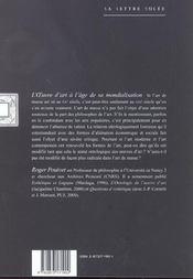 Oeuvre D'Art A L'Age De La Mondialisation (L') - 4ème de couverture - Format classique