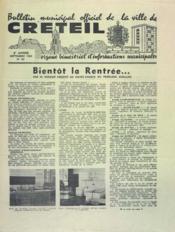 Bulletin De Creteil N°30 du 01/09/1964 - Couverture - Format classique
