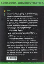 Sapeur-Pompiers Professionnel Non Officier Concours Externe Et Reserve Concours Administratifs - 4ème de couverture - Format classique