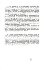 Texte Africain Et Voies/Voix Critiques - 4ème de couverture - Format classique