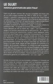 Le Sujet Instance Grammaticale Selon Freud - 4ème de couverture - Format classique