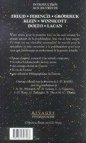 Introduction aux oeuvres de Freud, Ferenczi, Groddeck, Klein, Winnicott, Dolto, Lacan - 4ème de couverture - Format classique