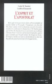 Esprit et apostolat - 4ème de couverture - Format classique