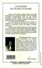 La Logique De L'Echec Scolaire ; Du Rapport Au Langage - 4ème de couverture - Format classique