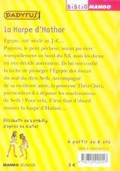 Papyrus ; La Harpe D'Hathor - 4ème de couverture - Format classique