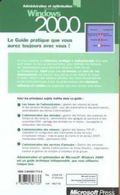 Guide De L'Administrateur ; Microsoft Windows 2000 - 4ème de couverture - Format classique