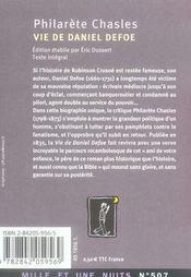 Vie de daniel defoe - 4ème de couverture - Format classique