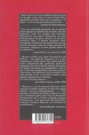 Déposition ; journal 1940-1944 - 4ème de couverture - Format classique