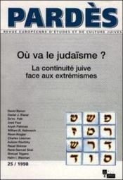 Pardes T.25 ; Où Va Le Judaïsme ? - Couverture - Format classique