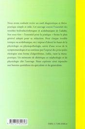 Troubles Hydroelectriques Et Acidobasiques L'Essentiel Pour La Pratique - 4ème de couverture - Format classique