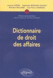 Dictionnaire de droit des affaires - Intérieur - Format classique