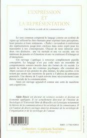L'Expression Et La Representation ; Une Theorie Sociale De La Communication - 4ème de couverture - Format classique