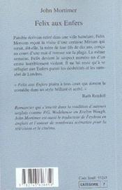 Felix Aux Enfers - 4ème de couverture - Format classique