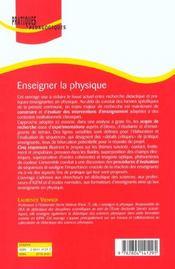 Enseigner la physique - 4ème de couverture - Format classique