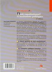 Dt Constitutionnel Inst.Pol. - 4ème de couverture - Format classique