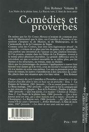 Comédies et proverbes t.2 ; les nuits de pleine lune, le rayon vert, l'amis de mon amie - 4ème de couverture - Format classique