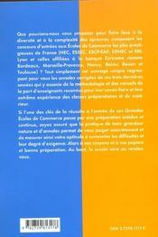 Integrer Les Grandes Ecoles De Commerce Les Parisiennes Ecricome Conseils Methodologie Annales - 4ème de couverture - Format classique