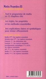 Maths ; les reperes essentiels ; 1ere ES - 4ème de couverture - Format classique