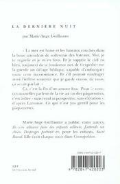 Derniere Nuit (La) - 4ème de couverture - Format classique