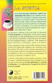 La Stevia ; Herbe Douce Des Hauts Plateaux Du Paraguay - 4ème de couverture - Format classique