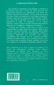 La Religion Spontanee ; Philosophie Des Religions Traditionnelles D'Afrique Noire - 4ème de couverture - Format classique