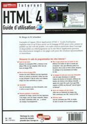 Html 4 guide utilisation - 4ème de couverture - Format classique