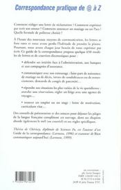 Correspondance Pratique De A Z - 4ème de couverture - Format classique